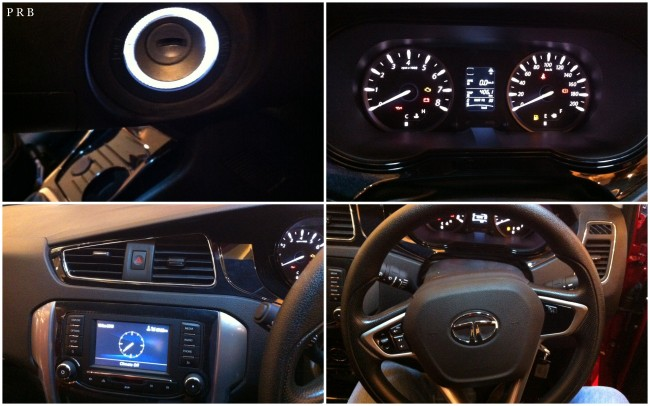 Interiors: (clockwise) lighted key hole, superb console, adjustable steering wheel & Harman infotainment system.
