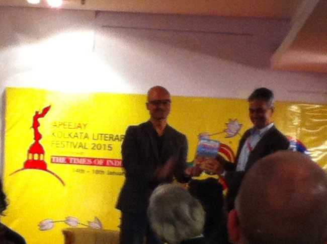 Jeet Thayil launching Upamanyu Chatterjee's book.
