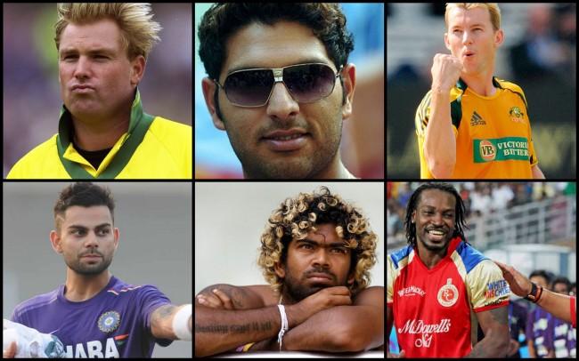 Clockwise: Shane Warne, Yuvraj Singh, Brett Lee, Virat Kohli, Lasith Malinga, Chris Gayle.