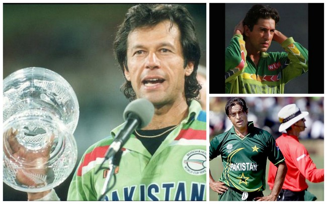 Clockwise: Imran Khan, Wasim Akram, Shoaib Akhtar