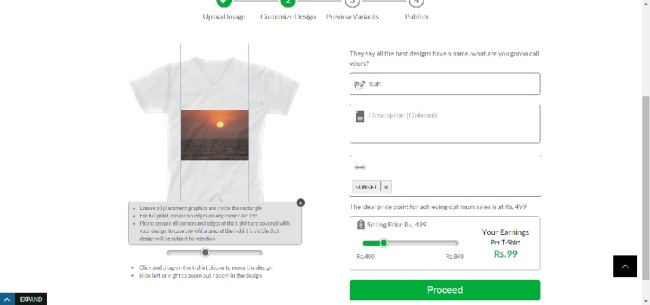 Step 3: Customize your design, add a name, tag and price to it.